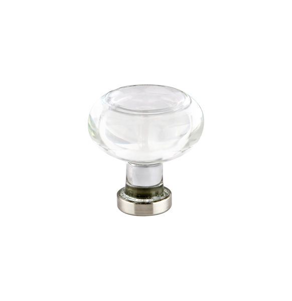 12986399US15 Georgetown crystal knob 1-1/4in diameter shown with satin nickel base. Available in seven finishes.