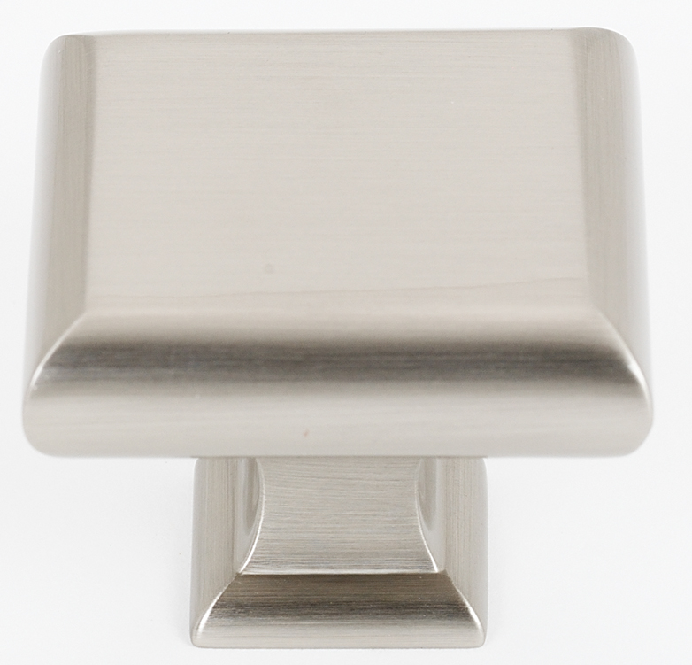 106A310-45-SN Manhattan knob square 1-3/4in shown in satin nickel. Available in multiple sizes and four finishes.