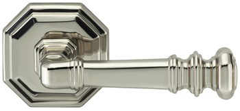 165101-00-US14 Traditions octagon lever and rose, shown in polished nickel. Available in all functions and five finishes.
