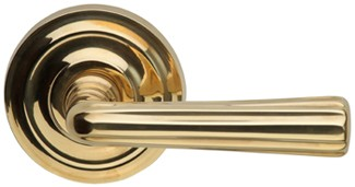 165706-00-US3A Traditions lined lever regular rose, shown in unlacquered brass. Available in all functions and six finishes.