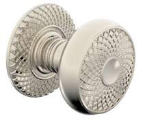 110K002/R004-055 LatticeCouture knob and rose, shown in polished nickel. Available in all functions and 20 finishes.