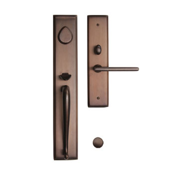 267SQSGL Rectangular brass mortise entry shown in light oil rubbed bronze.  Eight finishes available and numerous alternate interior knobs and levers.