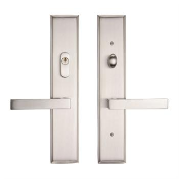 267SQUS5 Multi point brass entry trim shown in satin nickel.  Available in many configurations with eight finishes and over twenty lever styles.