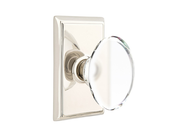 1298121-HT-US14 Hampton knob rectangle rose, shown in polished nickel. Available in all functions and many other finishes.