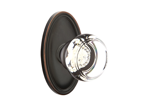 1298120-GT-US10B Georgetown knob oval rose, shown in oil rubbed bronze. Available in all functions and many other finishes.