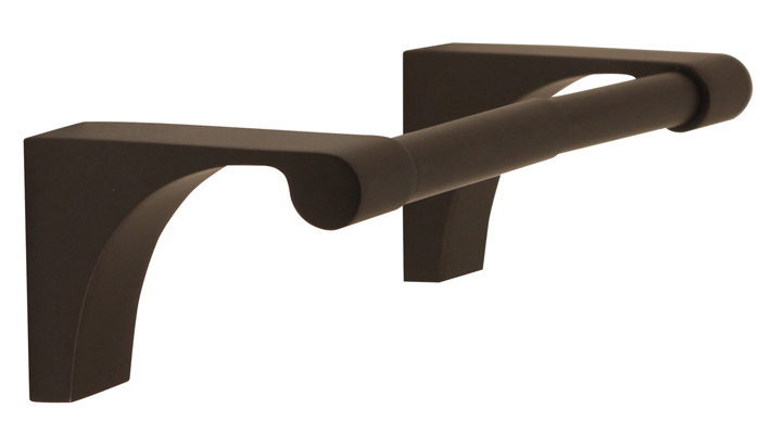 106A6860-BRZ lune double post tp holder shown in bronze. Available in five finishes.