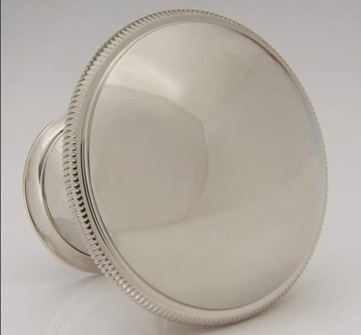 "2598506C-PN Port Royalcoin knob 1-1/2"" shown in polished nickel. Available in other sizes and  finishes ."