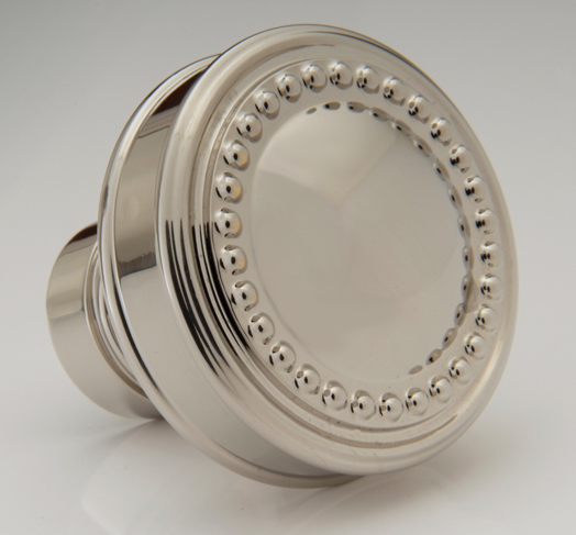 "2598442-PN Beaded convex knob 1-1/4"" shown in polished nickel. Available in 1-1/2"" diameter and numerous  finishes."