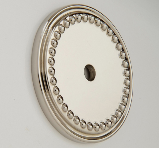 "2594344-PN Beaded back plate 1-11/16"" diameter shown in polished nickel. Available in 1-7/16"" diameter and numerous  finishes."
