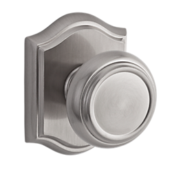 110TRATAR150 Traditional round knob with traditional arched rose in satin nickel. Available in all functions, with other finish and rosette options.