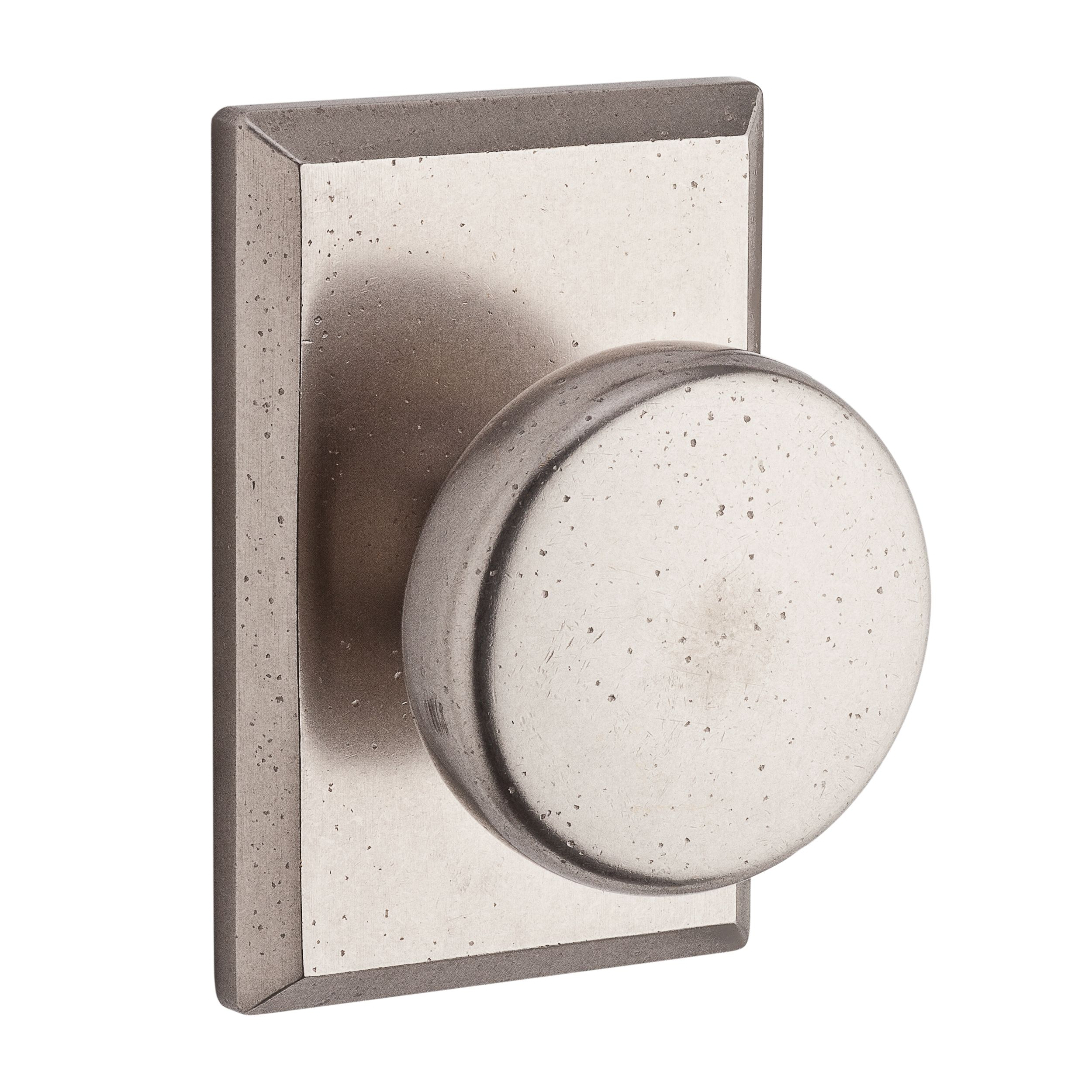 110RUSRSR492 Rustic round knob with rustic square rose shown in white bronze. Available in all functions, with other finish and rosette options.