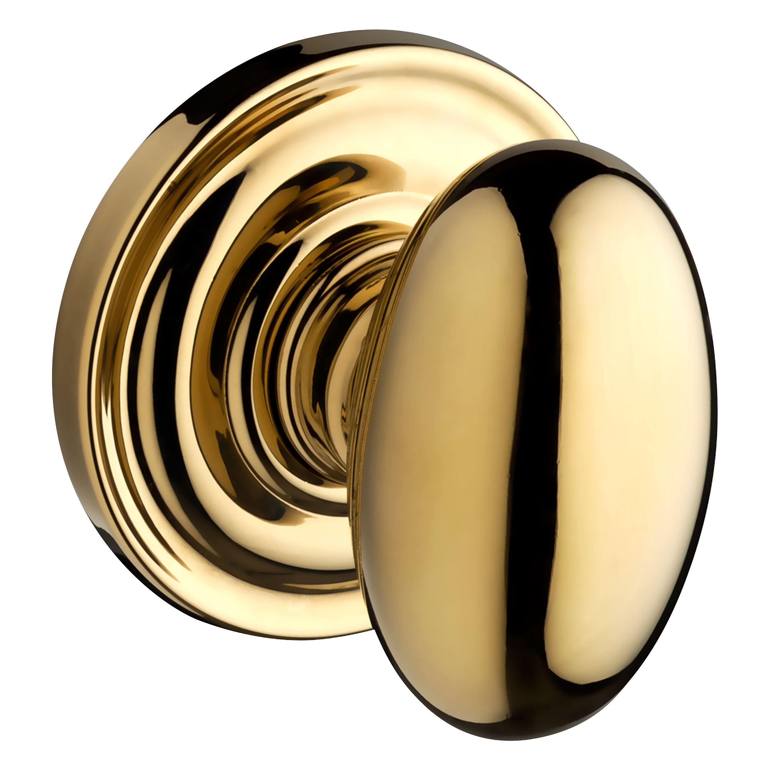 110ELLTRR003 Ellipse knob round rose shown in polished brass. Available in all functions, with other finish and rosette options.