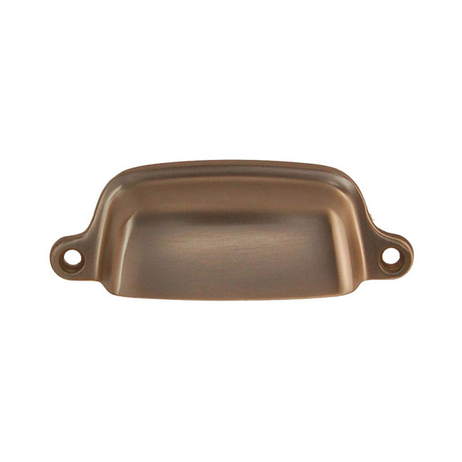 2361428-BN Elegant bin pull shown in brushed nickel, 3in ctc & 3-3/16in overall. Available in a larger size and five finishes.