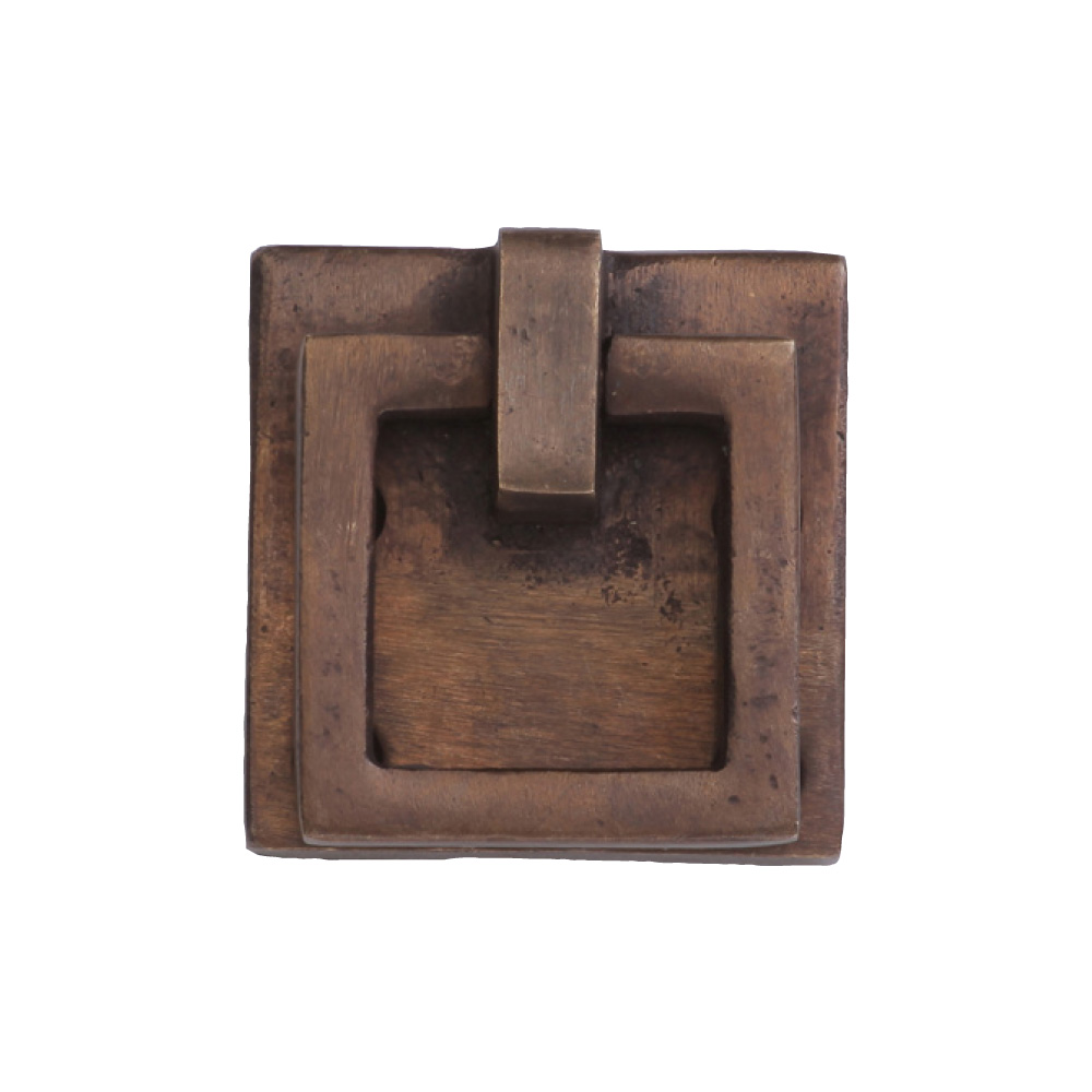 "2676359-LT Square drop pull square plate 1-3/4"" x 1-3/4"" shown in light bronze. Available in three finishes."