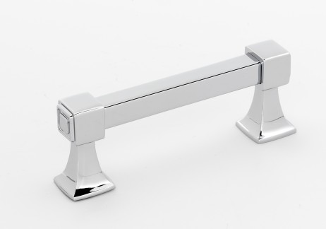 106A985-3-PC Square handle 3in ctc shown in polished chrome, available in six finishes.