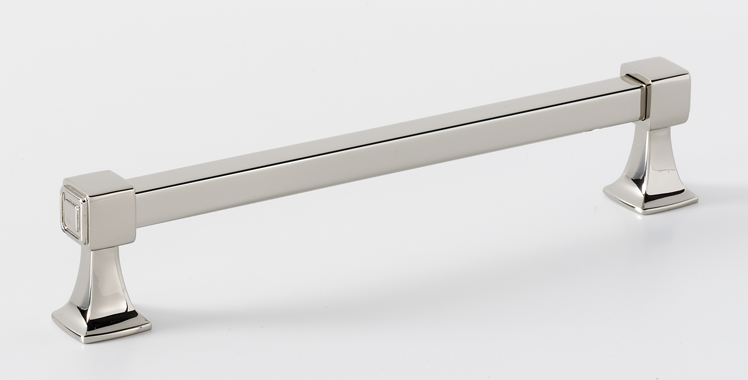106A985-6-PN Square handle 6in ctc shown in polished nickel, available in six finishes.