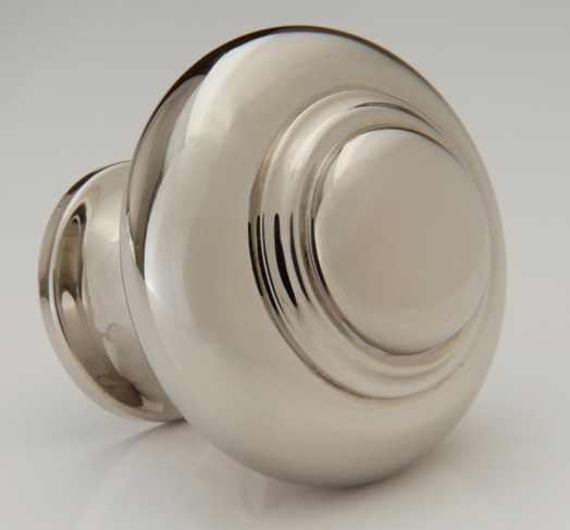 "2598504-PN Jamestown stepped knob 1-1/4"" shown in polished nickel. Available in several  finishes ."