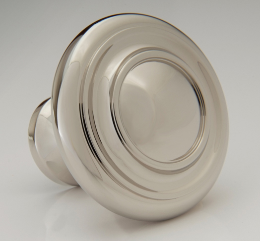 "2598503-PN Jamestown ringed knob 1-1/2"" shown in polished nickel. Available in several sizes and  finishes ."