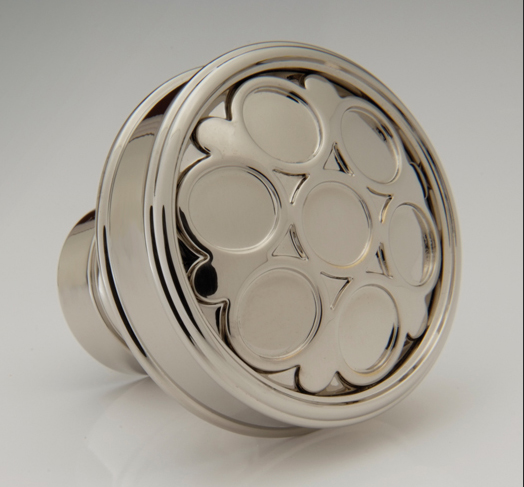 "2598437-PN Hazenberg framed knob 1-1/4"" shown in polished nickel. Available in another size and numerous  finishes ."