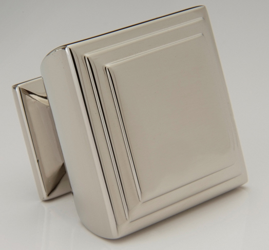 "2598370-PN Terrace square knob 1-1/2"" shown in polished nickel. Available in a smaller size and many  finishes ."