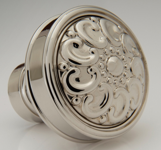 "2598400-PN Decorative framed knob 1-1/2"" shown in polished nickel. Available in many  finishes ."