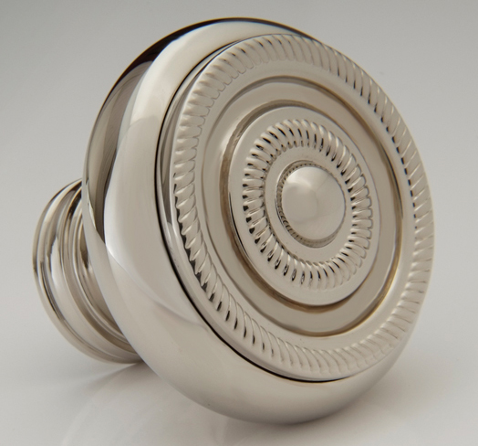 "2598410-PN Roped round knob 1-1/2"" shown in polished nickel. Available in several  finishes ."
