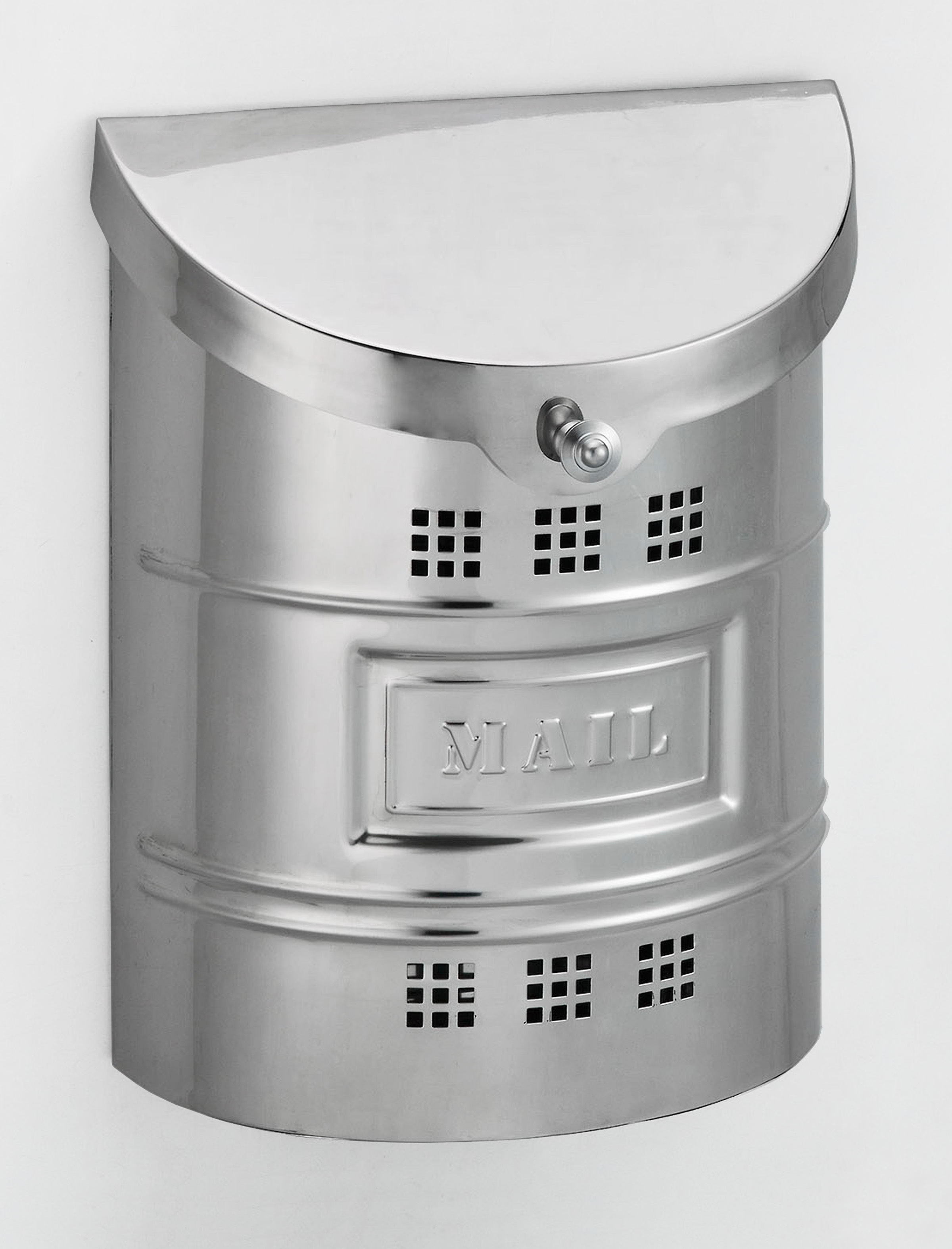 212E2M Barrel drum cut out ecco mailbox.Size: 11.25 W 14.5 H 4.5 D. Hardware included. Shown in polished stainless steel. Smaller size available.