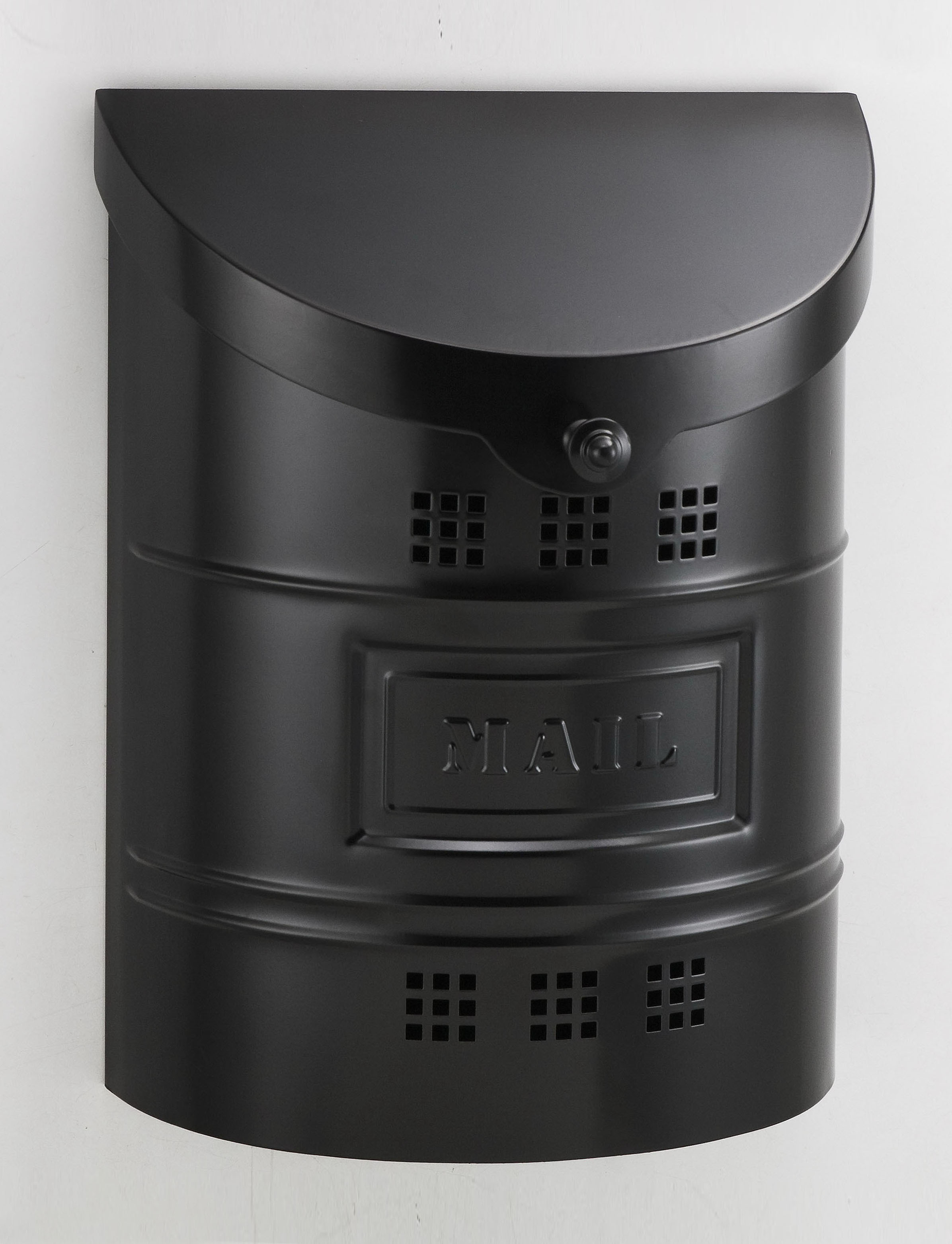 212E2BK Barrel drum cut out ecco mailbox. Size: 11.25 W 14.5 H 4.5 D. Hardware included. Shown in matte black. Smaller size available.