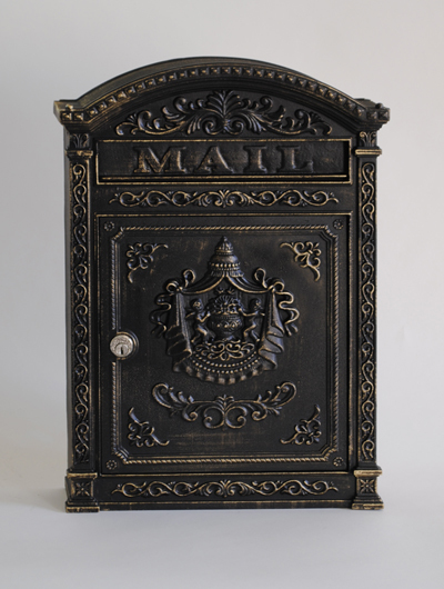 212E6BZ Victorian wall mount mailbox. Size: 12.25 W 17.5 H 3.75 D. Hardware and two keys provided. Made of aluminum and shown in antique bronze. Other finishes available.