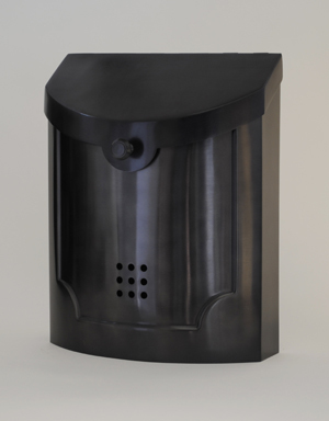 212E4BP Transitional wall mount mailbox.Size: 11 W 14 H 4.5 D. Hardware included. Shown in black pewter. Other finishes available.
