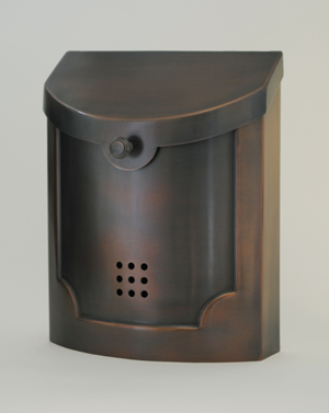 212E4AC  Transitional wall mount mailbox.  Size: 11 W 14 H 4.5 D. Hardware included. Shown in antique copper. Other finishes available.