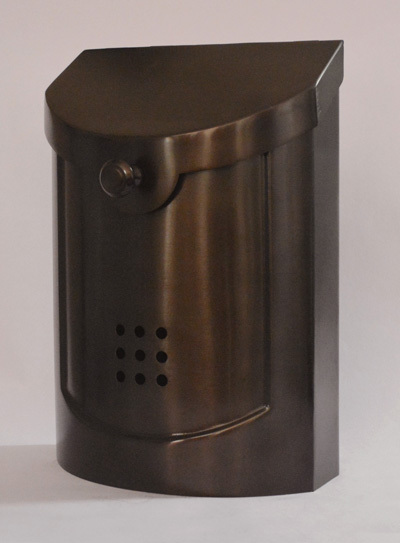 212E5BZ  Small Transitional wall mount mailbox.  Size: 8.5 W 12 H 4 D. Hardware included. Shown in bronze. Other finishes available.