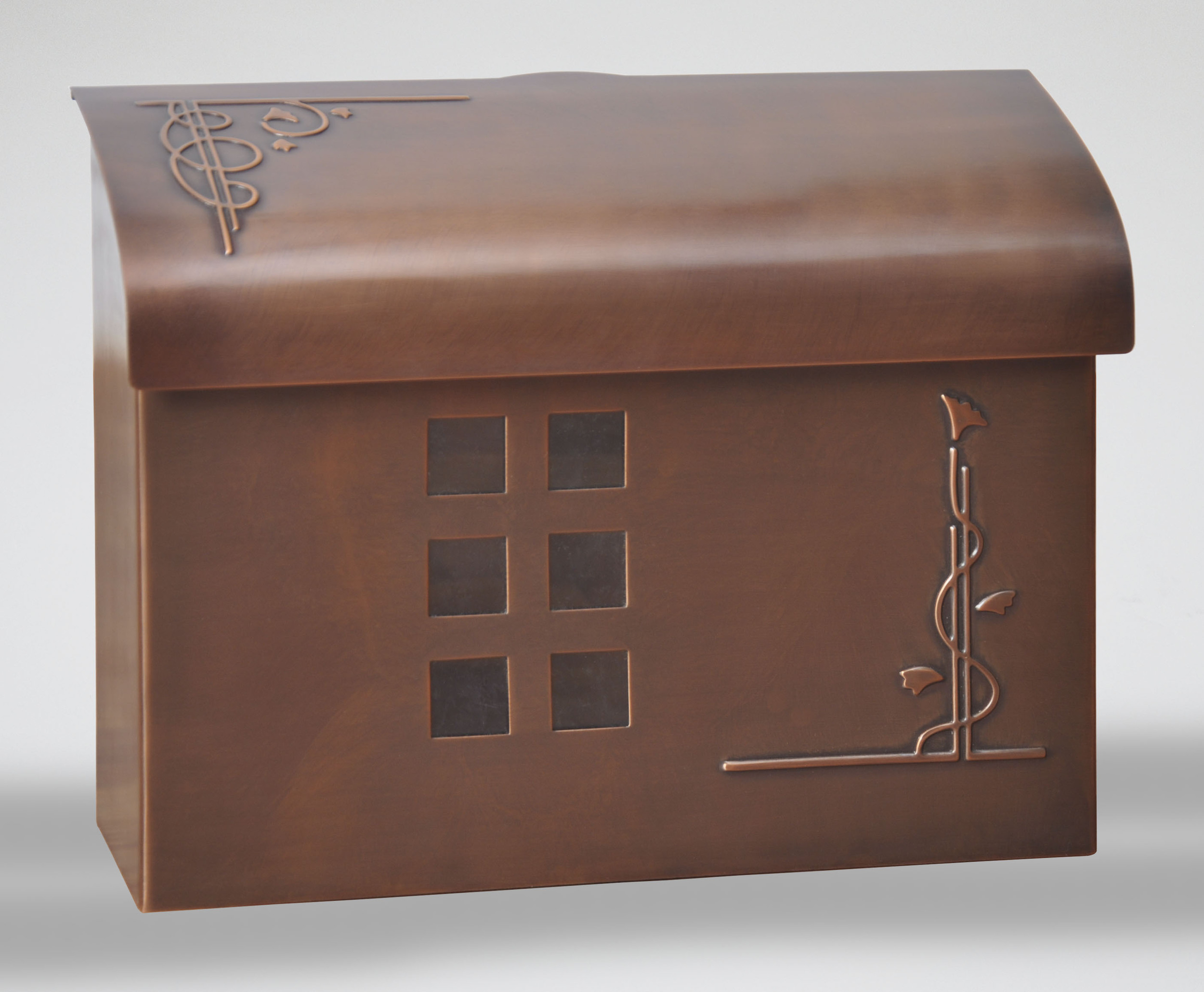 212E7AC  Arts & Crafts wall mount mail box.  Size: 14.5 W 11 H 5 D. Hardware included. Shown in antique copper. Other finishes available.