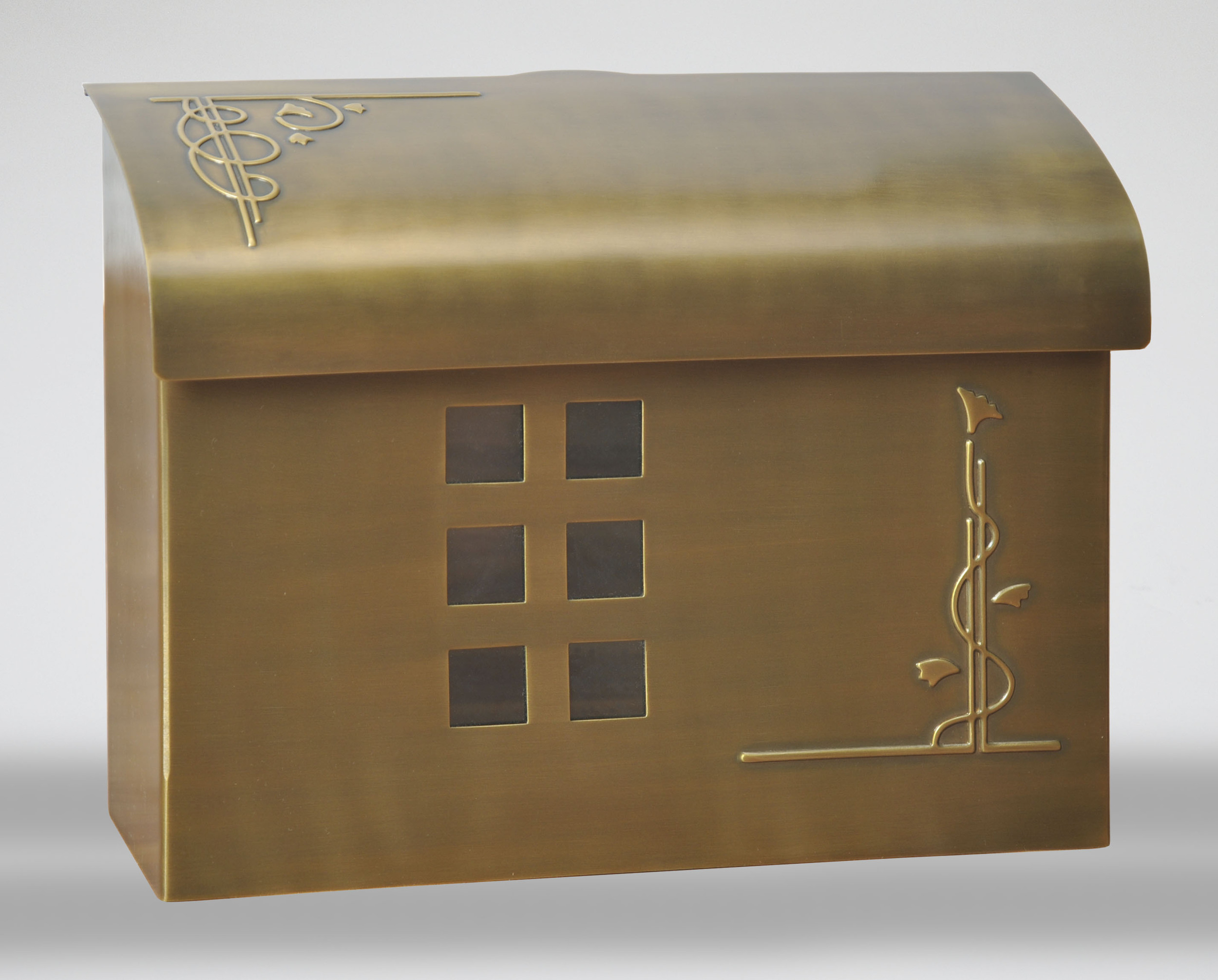 212E7BS   Arts & Crafts wall mount mail box.   Size: 14.5 W 11 H 5 D. Hardware included. Shown in satin brass antique. Other finishes available.