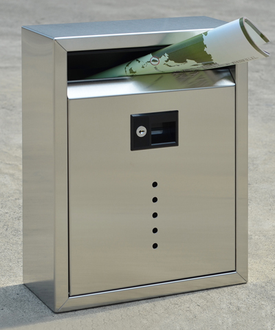 212E10SS Contemporary wall mount mail box. Size: 11.5 W 15 H 5 D. Slot: 10 W 1.5 H.Hardware and two keys included. Shown in satin stainless steel. Other finishes and size available.