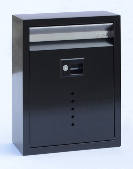 212E10BK  Contemporary wall mount mail box. Size  : 11.5 W 15 H 5 D. Slot: 10 W 1.5 H.  Hardware and two keys included. Shown in satin black. Other finishes and size available.
