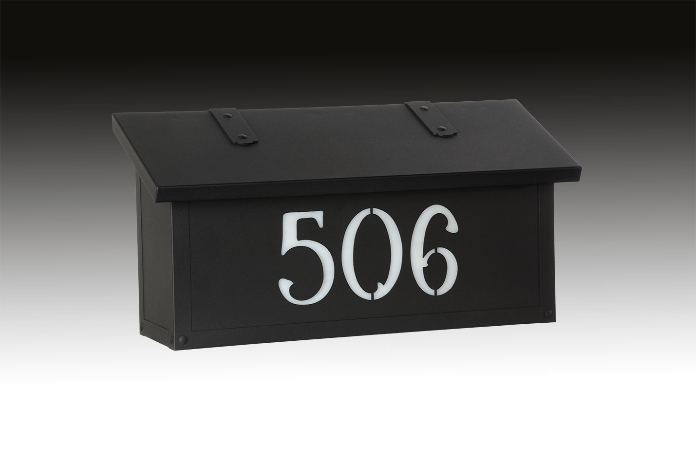 "277AF-2-HN-TB-WW  Classic horizontal mail box with custom house numbers in textured black with wispy white glass. Size: 8-1/4"" h x 16-1/2"" w x 5-5/8"" d. Other finishes and glass colors available."