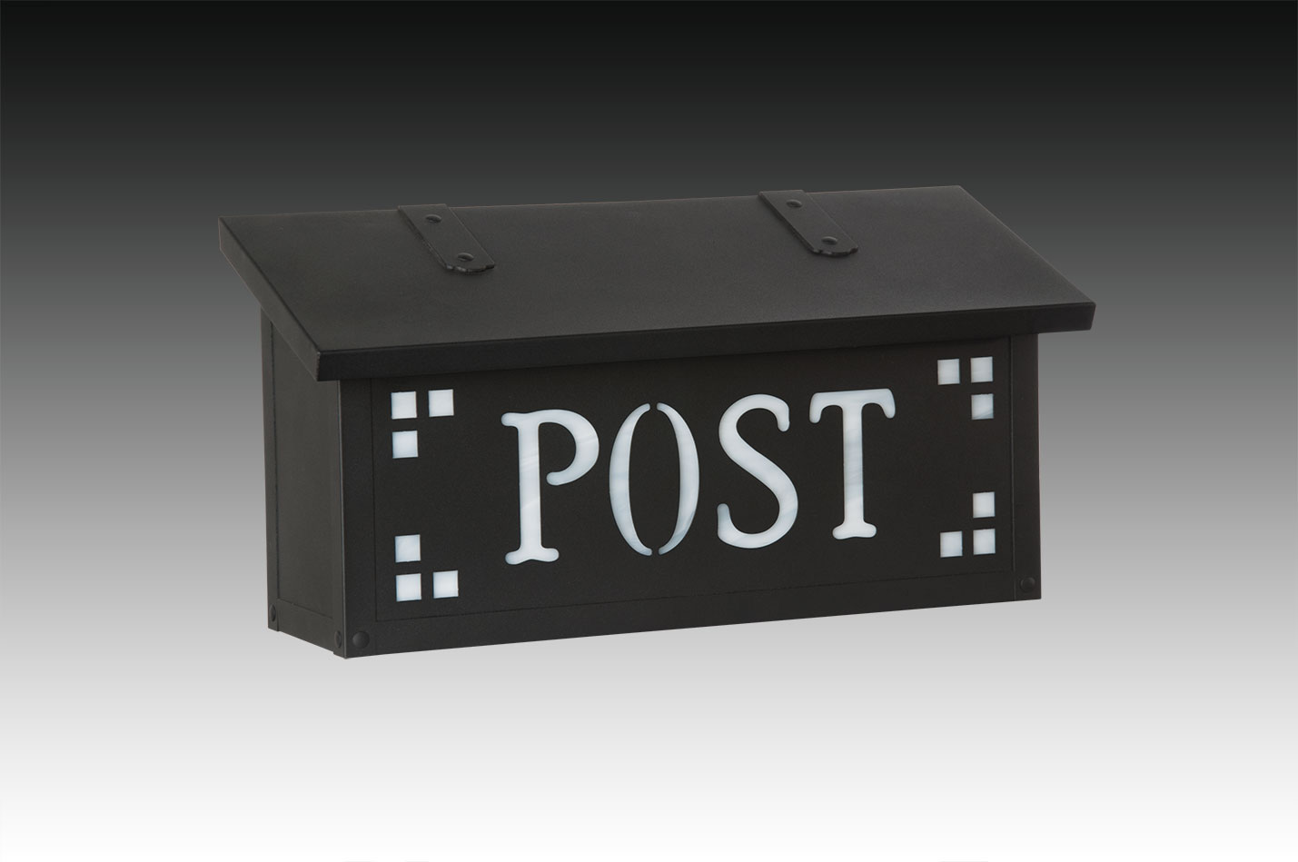 "277AF-22 POST-TB-WW Pasadena Post horizontal mail box shown in textured black with wispy white glass.  Size: 8-1/4"" h x 16-1/2"" w x 5-5/8"" d. Other finishes and glass colors available."