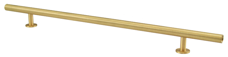 "23531-115 Round bar pull 18"" overall 15"" ctc Brushed brass. Other sizes available."