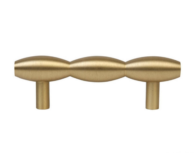 """23530-102 Barrel pull 4.5"""" overall 3"""" ctc Brushed brass. Available in other sizes and four finishes."""
