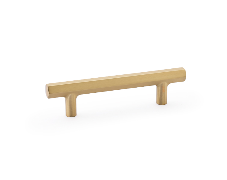 "12986459US4 Urban Modern Hex handle 3-1/2"" ctc satin brass. Available in other sizes and five finishes."