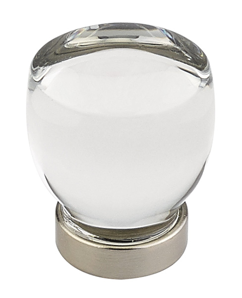 """12986562US15 Juneau crystal knob 1-1/8"""" shown with satin nickel base. Available with other base finishes."""