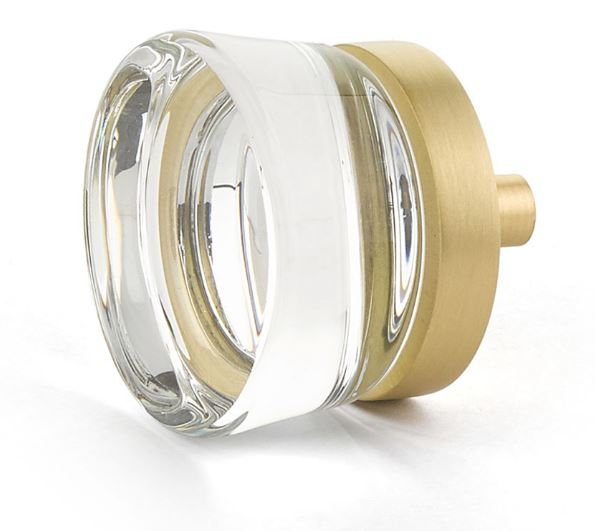 """19577-SB City Lights flat disc knob 1-3/8"""" diameter shown in satin brass. Available in five finishes."""