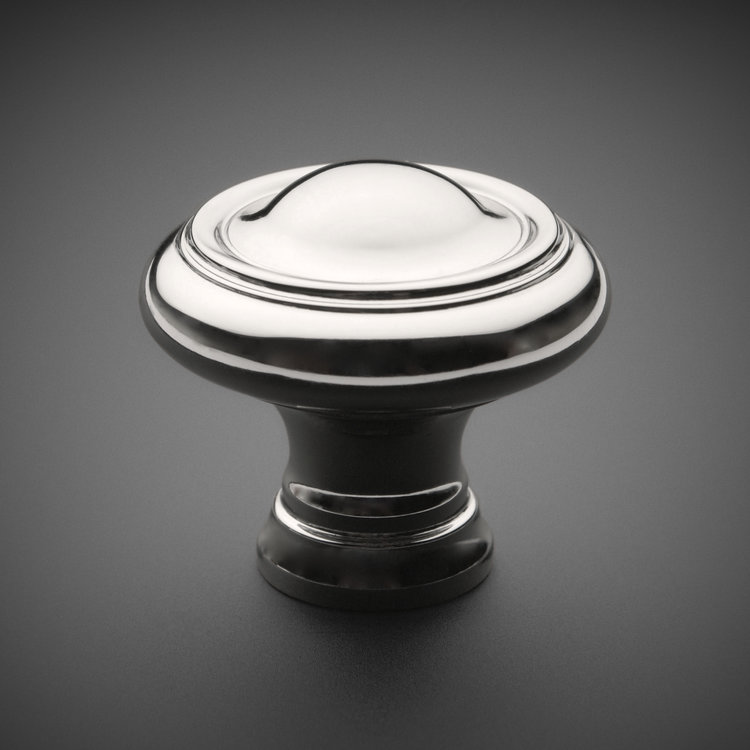 "245CK034-PN Classic plain ridge knob 1-1/4"" polished nickel. Additional sizes and finishes available."