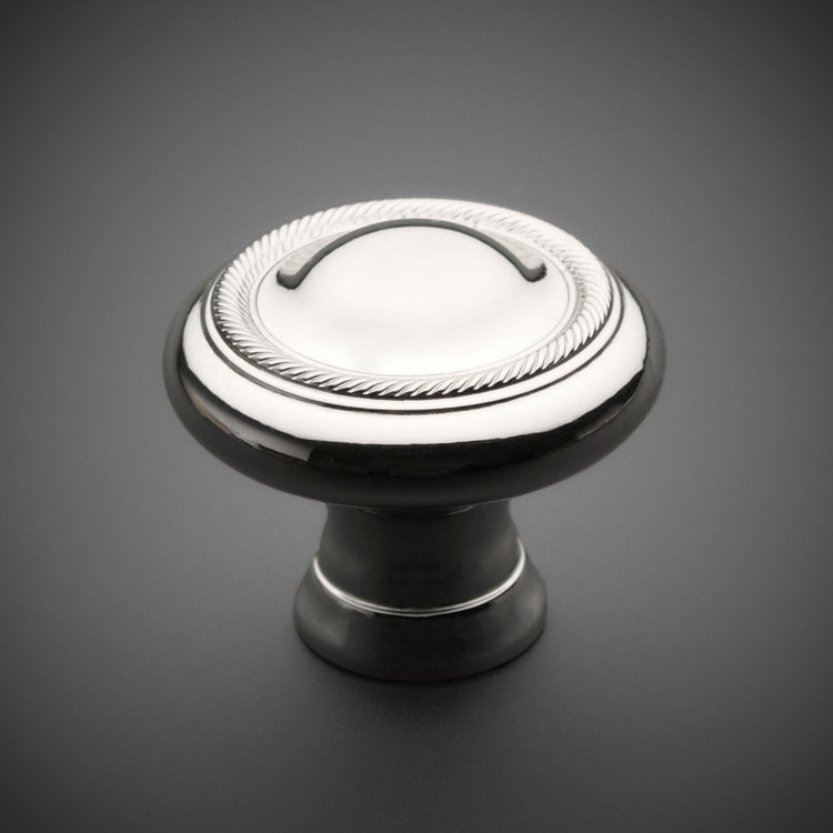 "245CK034R-PN Classic roped ridge knob 1-1/4"" polished nickel. Additional sizes and finishes available."