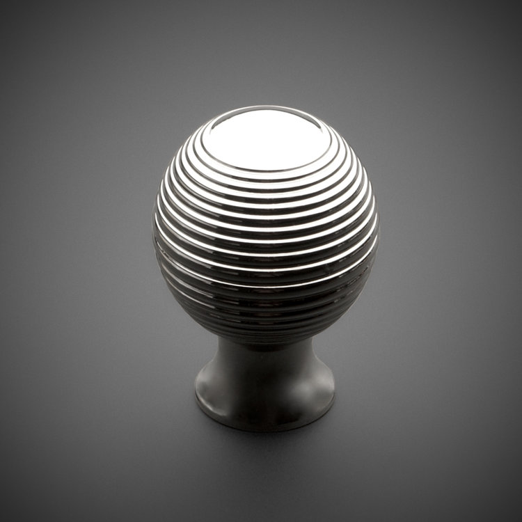 "245CK020-PN Traditional ringed knob 1-1/4"" polished nickel. Additional sizes and finishes available."