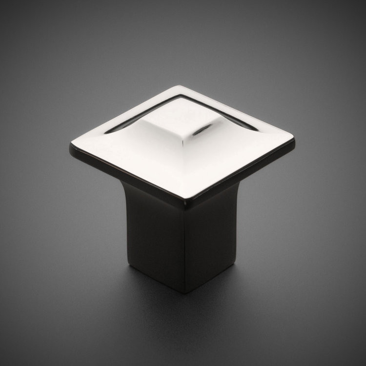 "245CK040-PN Squared knob 1-1/4"" polished nickel. Additional sizes and finishes available."