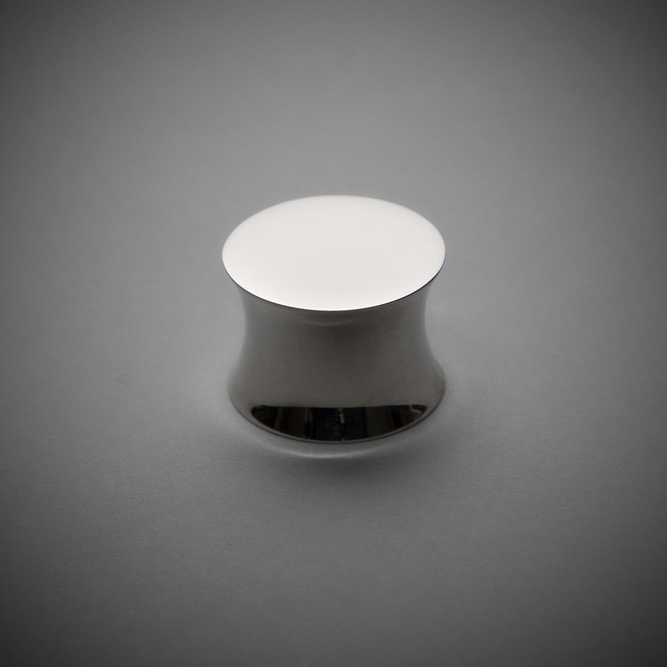 "245CK026-PN Flat round knob 1-1/4"" polished nickel. Additional sizes and finishes available."