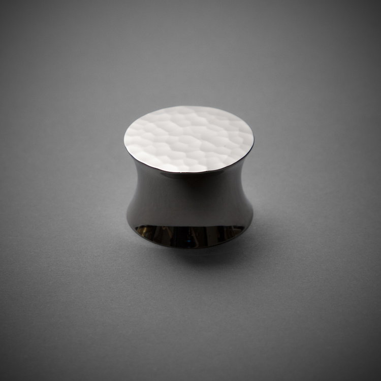 "245CK026H-PN Flat round hammered knob 1-1/4"" polished nickel. Additional sizes and finishes available."
