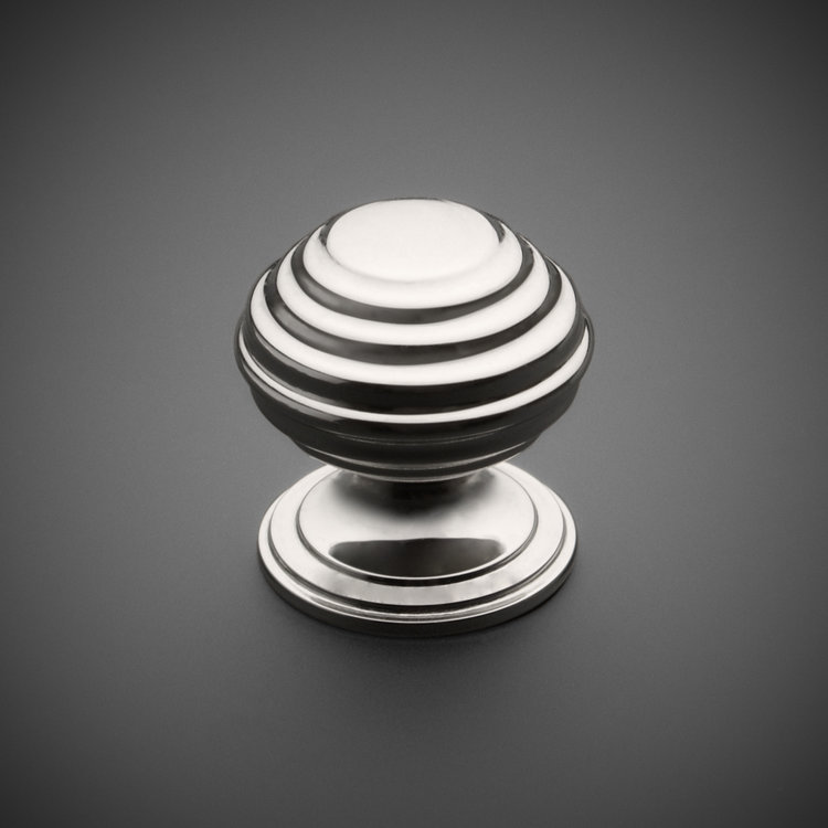 "245CK074-PN Banded round knob 1-1/4"" polished nickel. Additional sizes and finishes available."